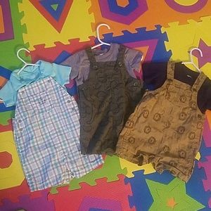 Overalls with shirts.